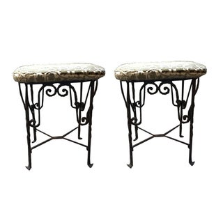1930s Turned Wrought Iron Benches - Pair