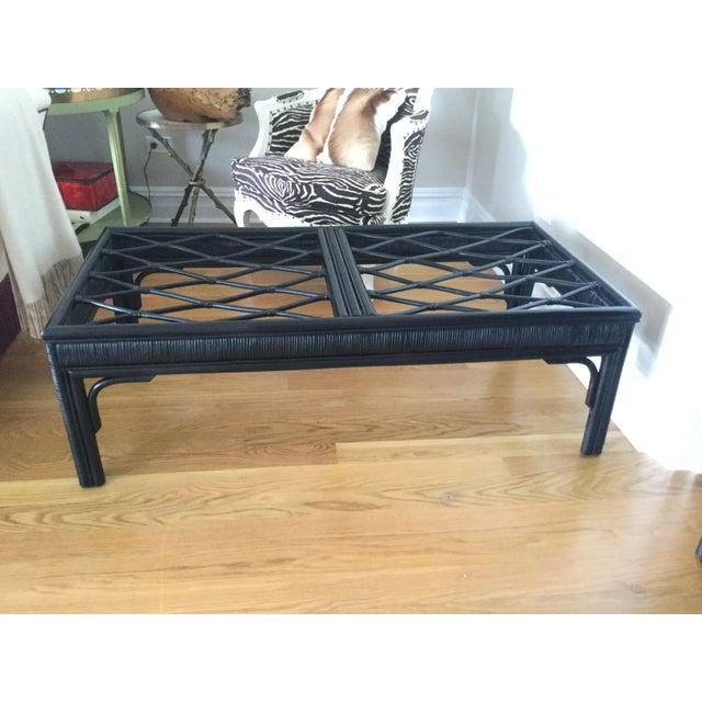 Hollywood Regency Style Black Rattan Coffee Table Chairish