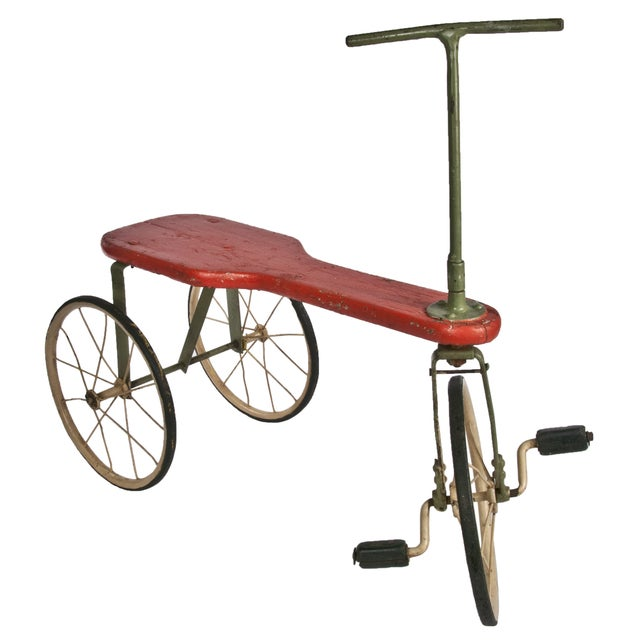 Image of Antique Painted Wood Tricycle