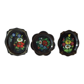 Russian Hand-Painted Lacquer Trays- Set of 3