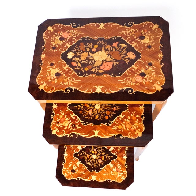 Italian Marquetry Inlay Music Box Nesting Tables - Image 1 of 8