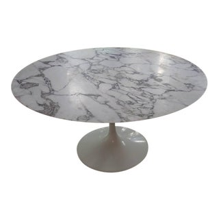 """Saarinen Honed Carrera Marble 54"""" Round Tulip Table With White Base"""