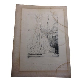 Antique Comtesse Print With Writing