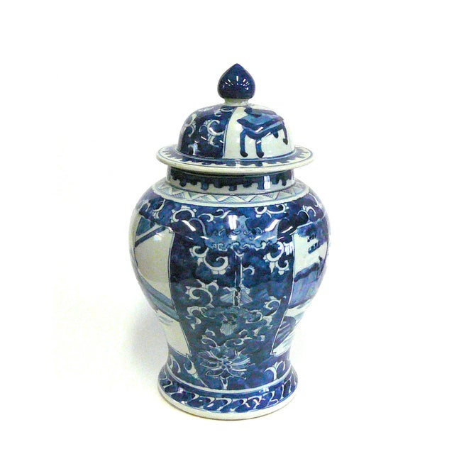 Chinese Blue And White Porcelain Temple Jar - Image 3 of 6