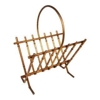 Gold Gilt Faux Bamboo Magazine Rack