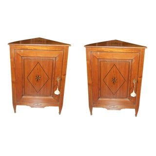 Pair of French Directoire Corner Cabinets