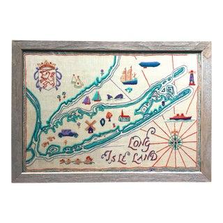 Vintage Framed Long Island Crewel Embroidery