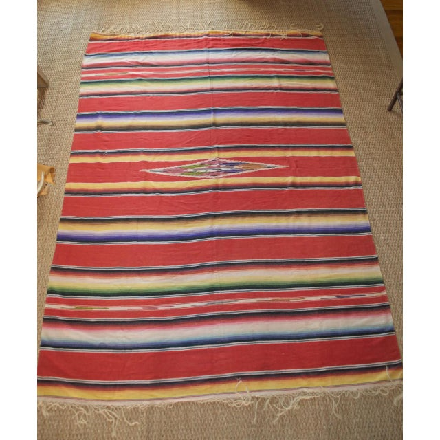 Vintage Mexican Saltillo Serape Blanket Throw - Image 2 of 8