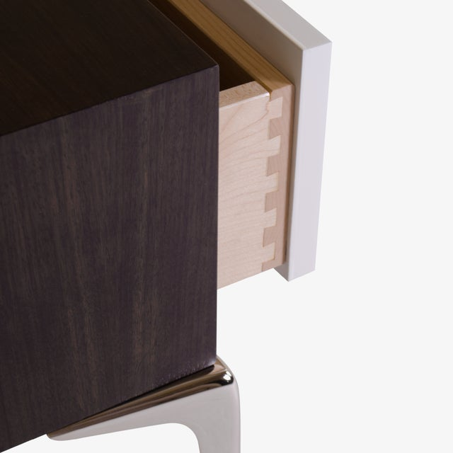 Colette Nickel Nightstands in Ebony & Ivory by Montage, Pair - Image 9 of 9