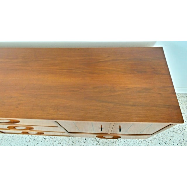 Image of Mid Century Walnut Long Low Credenza