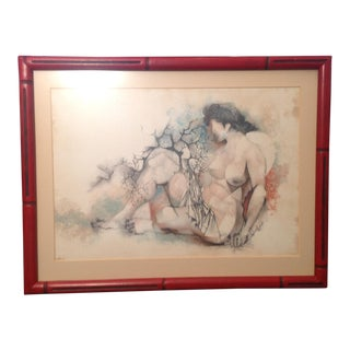 Siegfried Reinhardt Nude Lithograph Print in Red Faux Bamboo Frame
