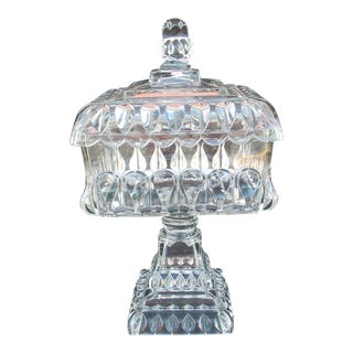 Antique Square Covered Compote