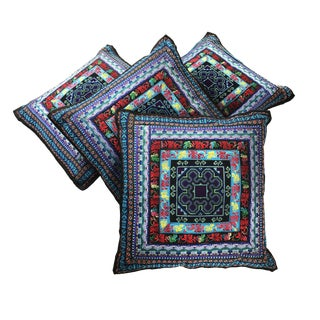 Vintage Handmade Hmong Style Pillows - Set of 4
