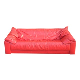 1980's Italian Leather Sofa