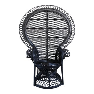Black Rattan Loop Peacock Chair