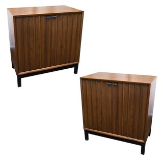 Mid-Century Modern Walnut Two Door Chests- A Pair