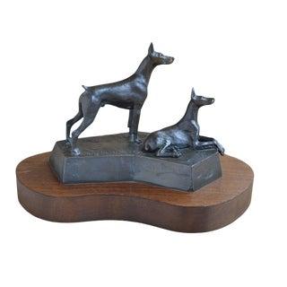 Bronze Two Dobermans