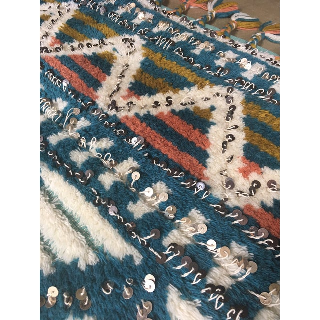 Image of Moroccan Style Wool Sequin Tassel Rug/Wall Hanging - 3' x 5'
