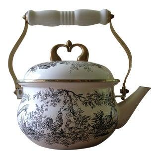 Tabletop Unltd. New England Black Toile (Gamebirds) Tea Kettle