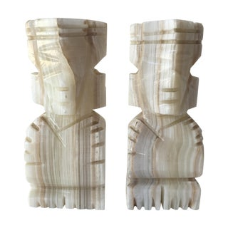 Carved Aztec Bookends - Pair