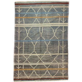 """Moroccan Gray Hand-Knotted Rug - 6'6"""" x 8'10"""""""
