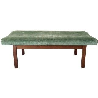 Walnut and Green Velvet Dunbar Style Bench