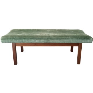 Walnut and Green Velvet Dunbar Style Bench