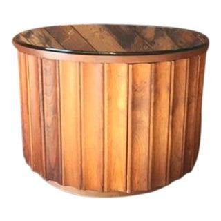 Mid-Century Sculpted Circular Walnut Side Table