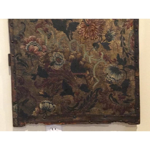 Antique French Handpainted Leather Screen Panel - Image 5 of 6