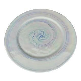 Murano Mid-Century Iridescent Blue & White Plate