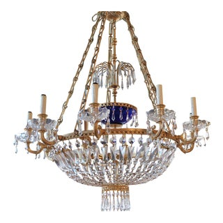 10 Light Baltic Style Gilt Bronze Chandelier