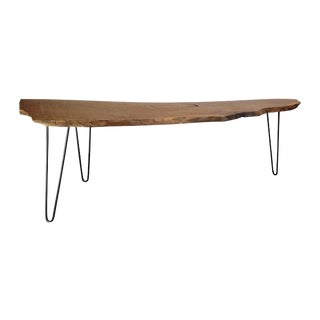 Live Edge Wood Plank Coffee Table on Hairpin Legs