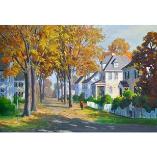 J. Holloway Street Scene at Sunset Impressionist Painting