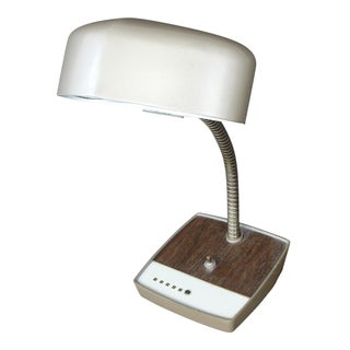 Industrial Desk Lamp With Wood Grain Base