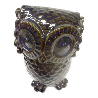 Vintage Ceramic Cobalt & Brown Baby Owl