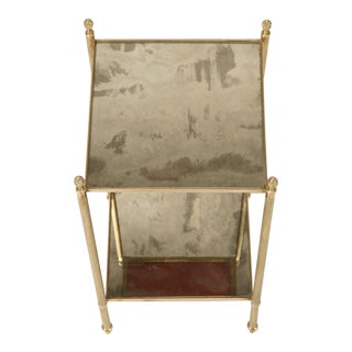 Seductive French 40's Two-Tier Aged Mirror End/Side Table
