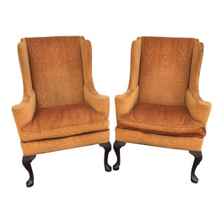 Queen Anne Wingback Chairs by Hickory Chair - A Pair