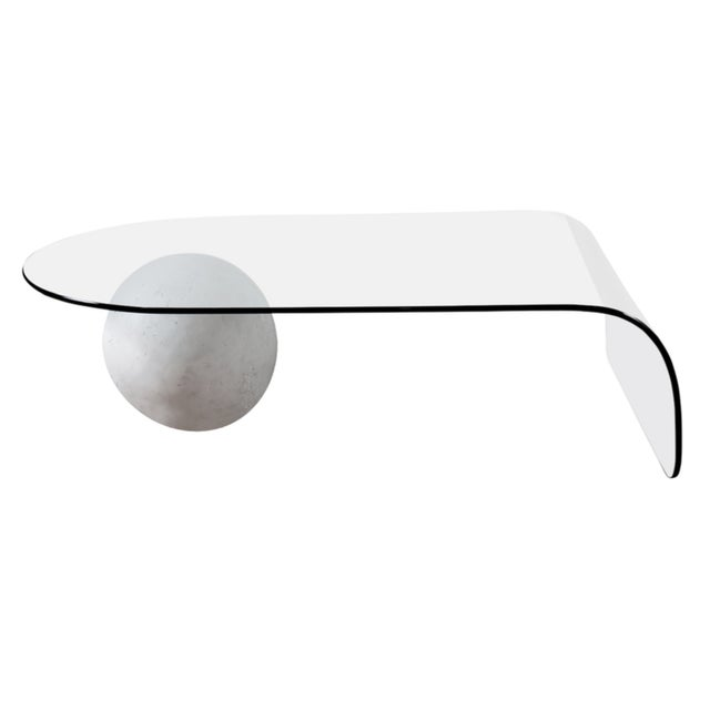 Image of 80's Bent Glass Table With Plaster Ball