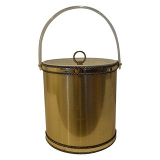 Vintage Hollywood Glam Georges Briard Brushed Brass & Lucite Covered Ice Bucket