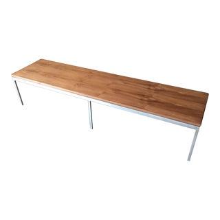 Mid Century Custom Walnut Stainless Coffee Table