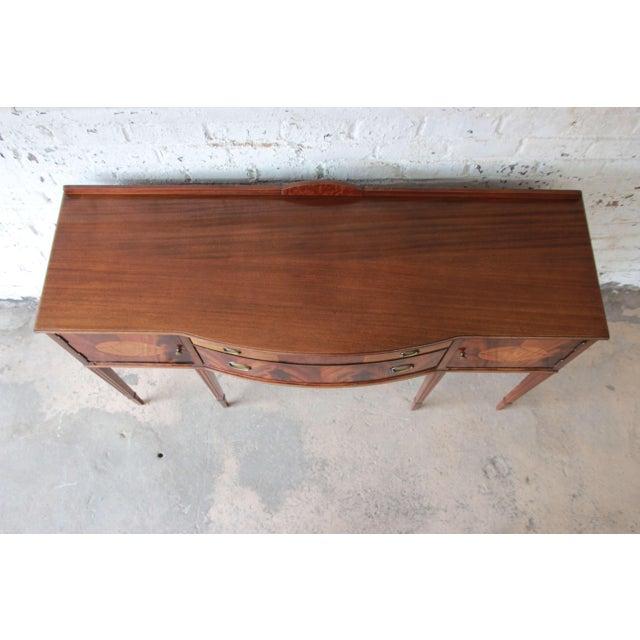 Limbert Hepplewhite Style Inlaid Flame Mahogany Sideboard Buffet, Circa 1930s - Image 10 of 11