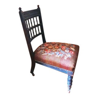 Baroque Needlepoint Victorian Ladies' Sewing Chair, Pomegranate Design