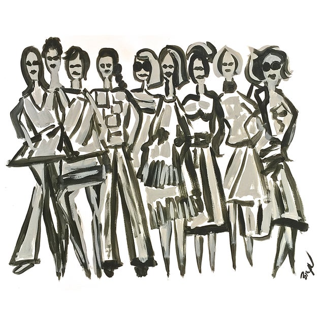 Original Fashion Illustration on Paper - Image 1 of 4