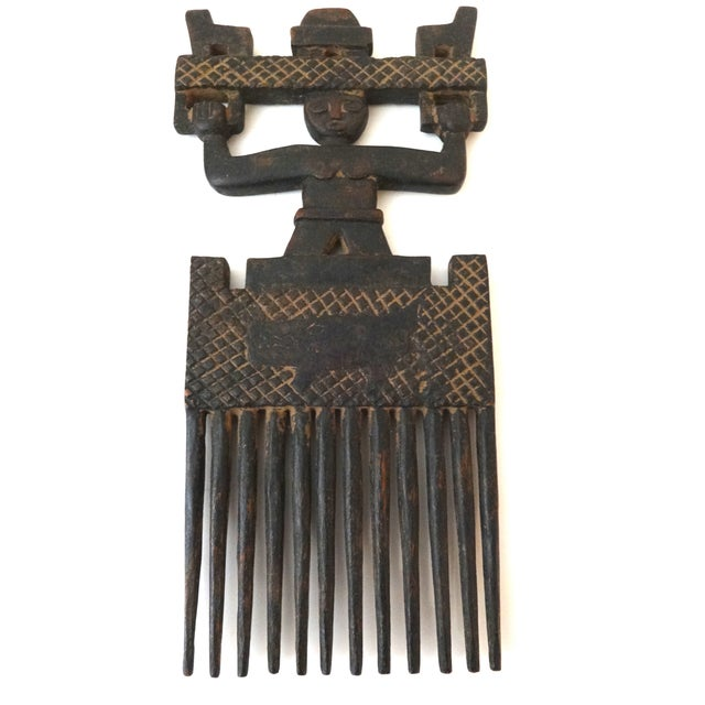 African Ashanti Tribe Carved Comb Figure Ghana - Image 1 of 6