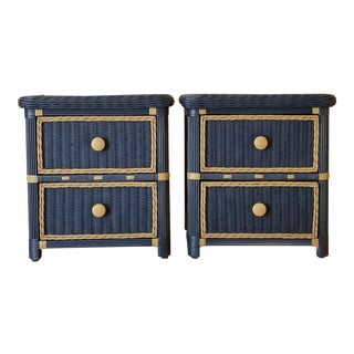 Vintage Hand Painted Blue Wicker Nightstands With Two Drawers - a Pair