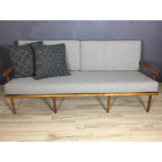 Mid century gray tweed wood sofa chairish for Grey tweed couch
