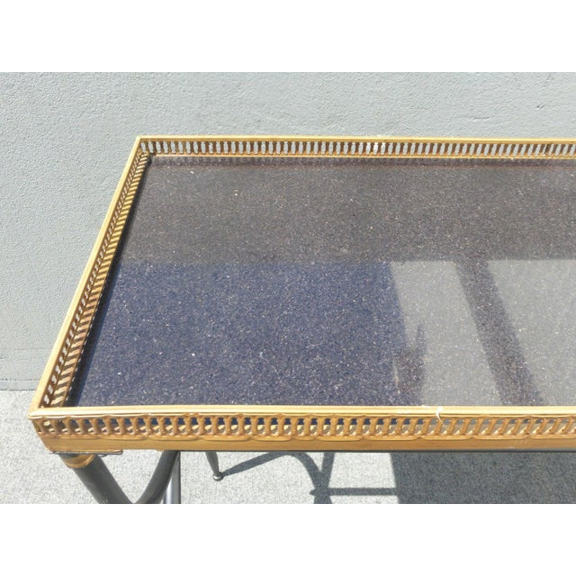 Hollywood Regency French Black Granite X Console Table - Image 9 of 10