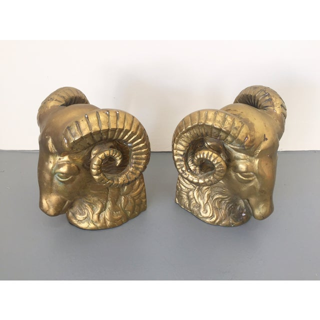 Large Brass Ram Bookends - Pair - Image 2 of 5
