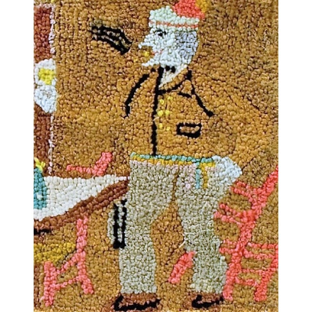 Late 19th Century Figural Hooked Rug - Image 2 of 3