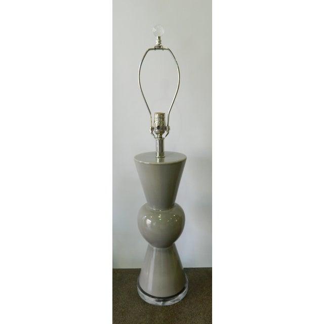 Modern Gray Porcelain Table Lamp on Acrylic Base - Image 2 of 7